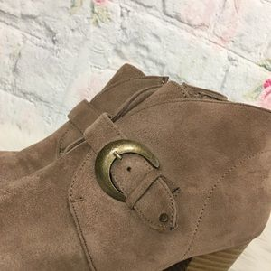 Maurices Shoes - Maurice's Taupe Heeled Trina Faux Suede Bootie